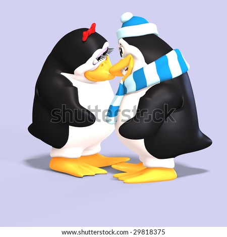 cute penguin couple in love with Clipping Path - stock photo