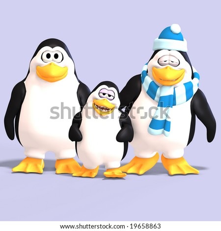 cute penguin family with father mother child and Clipping Path - stock photo