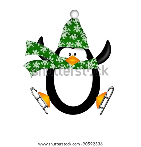 Cute Penguin with Christmas Snowflakes Scarf on Ice Skates Jumping  Illustration Isolated on White Background - stock photo