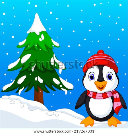 Cute penguin with christmas tree background and winter - stock photo