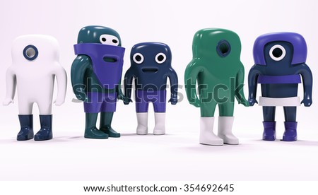 Cute people isolated on white. Abstract background. 3d. Small man. Toys. - stock photo