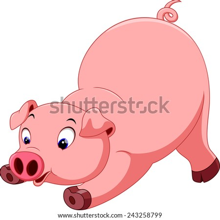 Cute pig cartoon  - stock photo