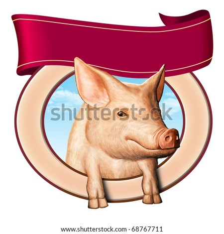 Cute pig in a food label, copy-space to insert you own text on top. Digital illustration. - stock photo
