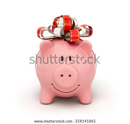 Cute piggy bank with  bow and ribbon isolated on white - stock photo