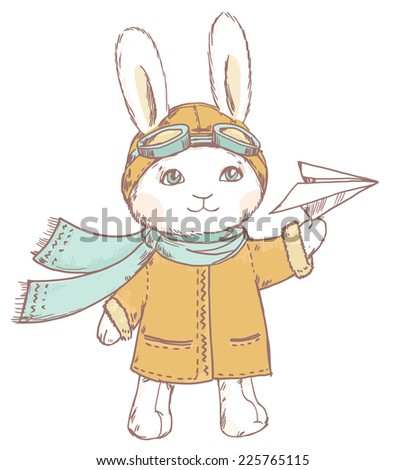 Cute pilot rabbit with paper airplane on white background - stock photo