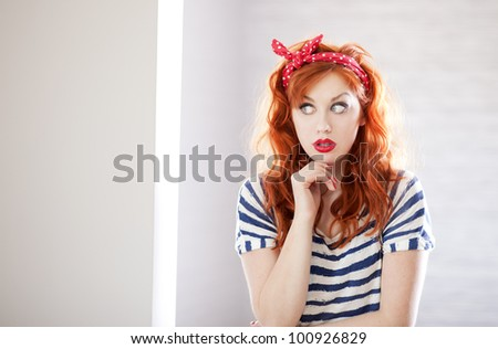 Cute pin up girl. - stock photo