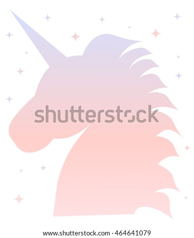 cute pink blue gradient unicorn silhouette illustration