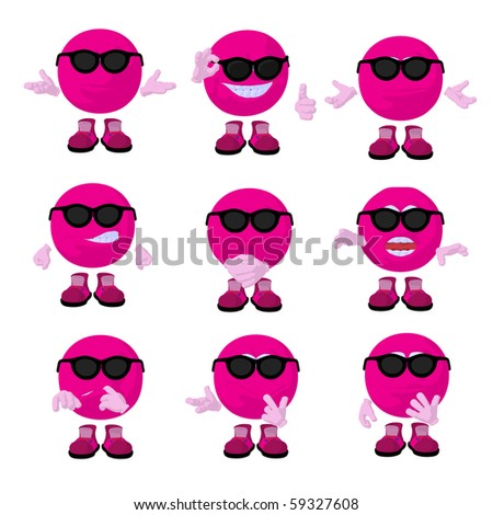 Cute pink emoticon art illustration on a white background - stock photo