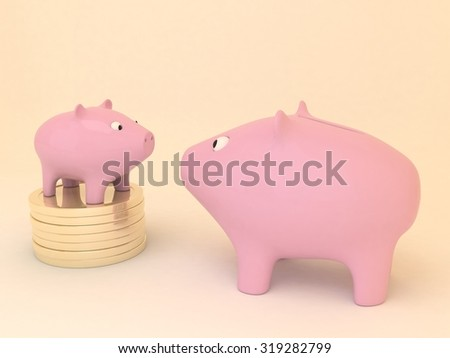 Cute pink piggy banks little and big