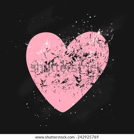 Cute pink textured heart with paint sprays on a black chalkboard. Beautiful card  can be used as greeting card,invitation card for wedding,valentine's day and other holiday.  - stock photo
