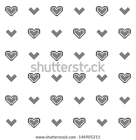 Cute pixel hearts black and white seamless pattern (raster version) - stock photo