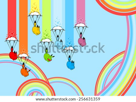 Cute playful rainbow monsters (raster version) - stock photo