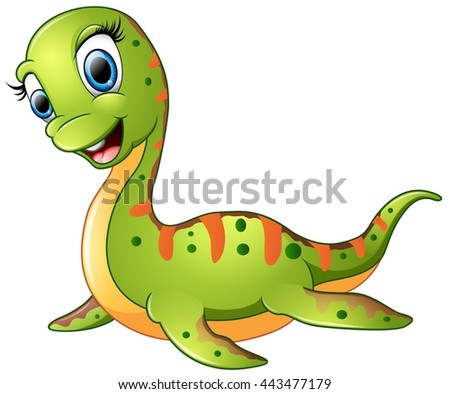 Cute plesiosaurus cartoon - stock photo