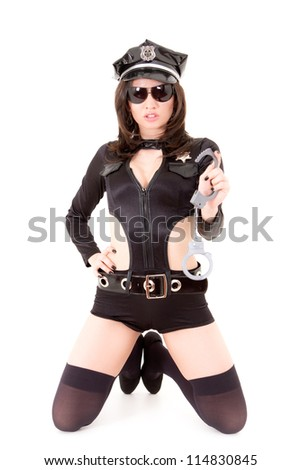cute police woman posing on a  isolated white background