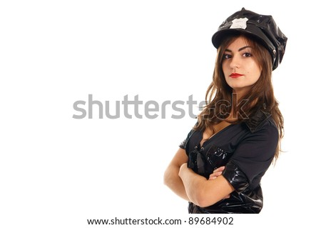 cute police woman posing on a white - stock photo