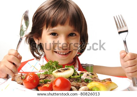 Child With Dinner Plate Stock Photos, Images, & Pictures ...