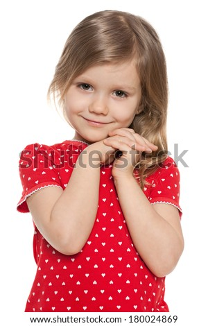 Cute preschool girl on the white background - stock photo