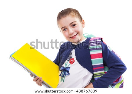 Cute preschool student girl holding notebooks on white background - stock photo