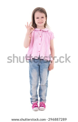 cute pretty little girl showing ok sign isolated on white background - stock photo