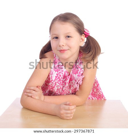 cute pretty little smiling girl - stock photo