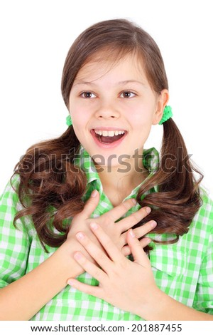 cute pretty surprised girl closeup - stock photo