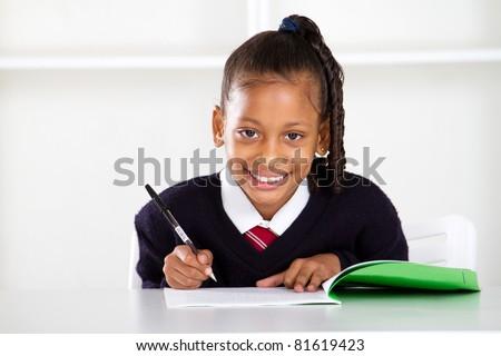 cute primary schoolgirl - stock photo