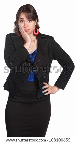 Cute professional woman with hand on face - stock photo