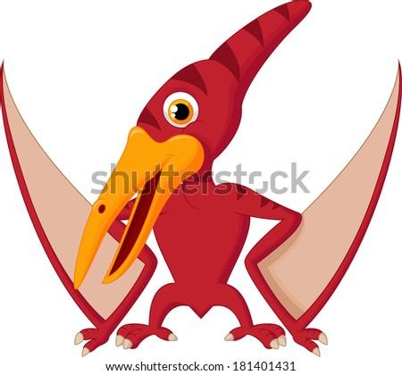 Cute pterosaurus cartoon - stock photo