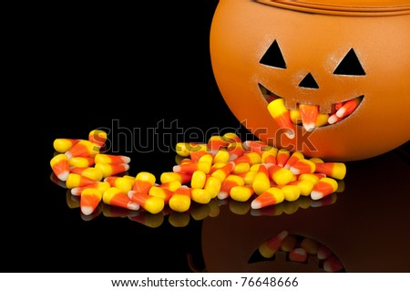 Cute Pumpkin Overflowing with Candy Corn