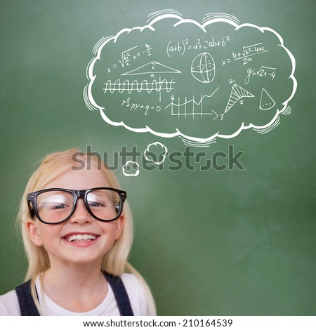 Cute pupil smiling against math in thought bubble