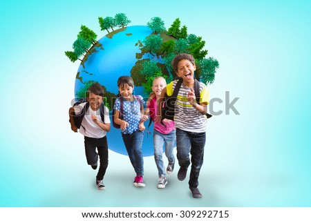 Cute pupils running down the hall against blue vignette background - stock photo