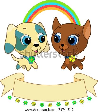 Cute puppy and kitten friendship vector illustration - stock photo