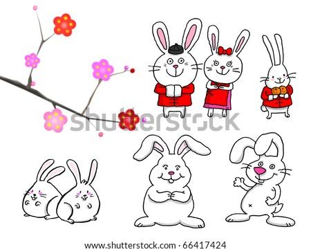 cute Rabbits - stock photo