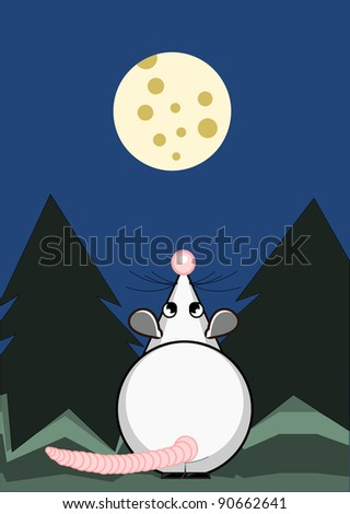 Cute rat and the moon from cheese - stock photo