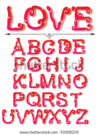 Cute red alphabet, ABC - stock photo