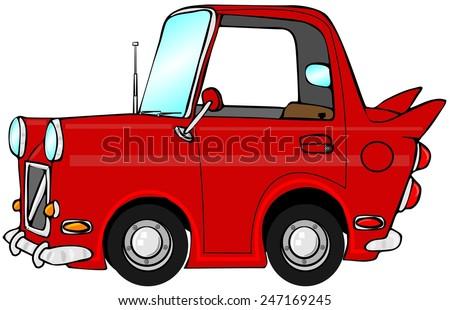 Cute red car - stock photo