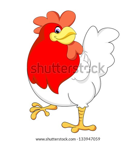 cute red chicken vector of illustration - stock photo