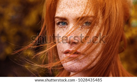 cute red haired girl - autumn windy day golden hour