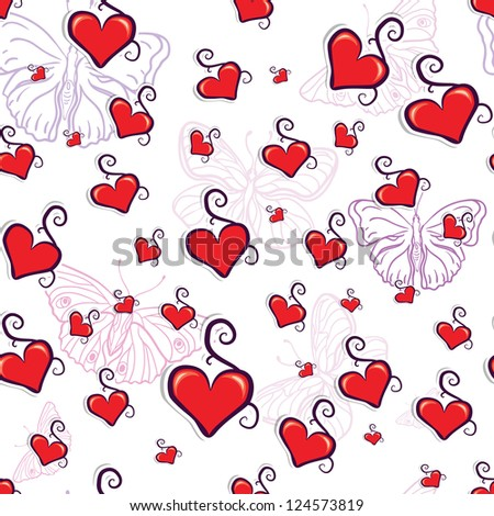 cute red hearts seamless texture raster copy