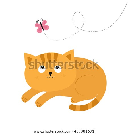 Cute red lying orange cat and looking at flying pink butterfly. Dash line track. Mustache whisker. Funny cartoon character. Flat design - stock photo