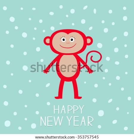 Cute red monkey on snow background. Happy New Year 2016.  Baby illustration. Greeting card  Flat design.