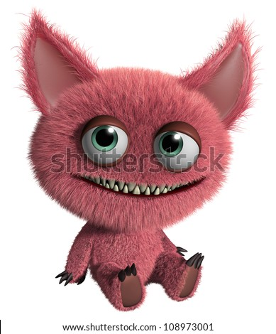 cute red monster - stock photo