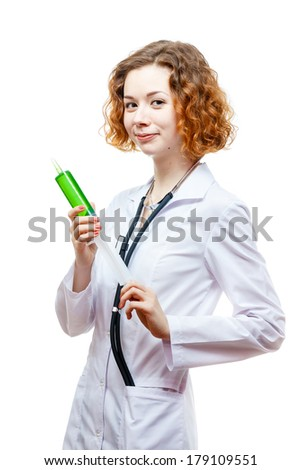 cute redhead doctor in lab coat with syringe isolated on white background