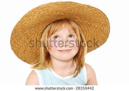 cute redhead girl 4 years old covered with big broad-brim straw hat, isolated on white, clipping path - stock photo
