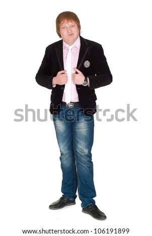 Cute redhead guy on an isolated white background