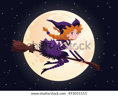 Cute redhead witch flying on a broom and smiling. Illustration of little Halloween Witch in flat cartoon style on a starry sky background with Moon. Element for your design, prints and greeting card.