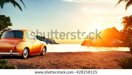 Cute retro car on a beach at beautiful sunset. Out of town.  Unusual 3D illustration. Travel and vacation concept. Summer time concept - stock photo