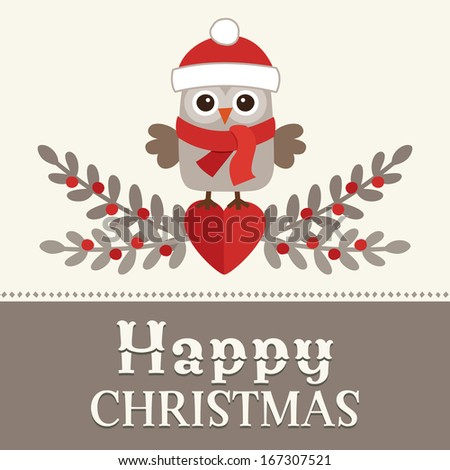 Cute retro Christmas card design with sweet little owl in santa hat on cream and brown background. - stock photo