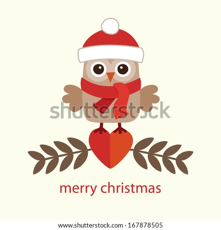 Cute retro Christmas card design with sweet little owl in santa hat on cream background. - stock photo