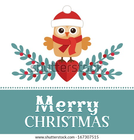 Cute retro Christmas card design with sweet little owl in santa hat on red and blue background. - stock photo